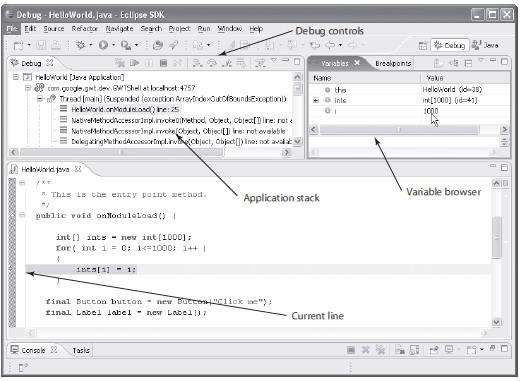 当在主机模式浏览器中打开HelloWorld时,单击Click Me按钮,就能够看到Eclipse显示的调试器。此时,应该看到Eclipse处于Debug透视图模式,如图4-26所示。 假如你打算构建像样的Ajax应用程序,那么就应该学会使用这个视图。在这个视图中,能够看到应用程序运行时的各个方面。如果应用程序运行出现了问题,那么可以通过设置断点来查找原因。JavaScript开发者可能会对这种调试工具感到比较陌生,因为它看起来似乎很复杂。然而,因为这个工具能够节省大量查找错误的时间,所以掌握它的使用是非