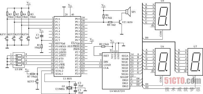 1 硬件设计    (点击查看大图)图13.6 基于8051单片机的四路抢答器